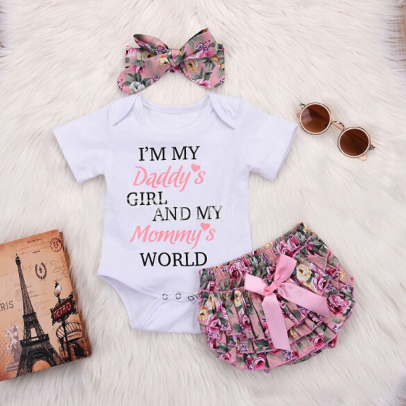 cd18e230ae1e Wisefin Newborn Girl Boutique Clothes Set Summer 3Pcs Floral Toddler ...