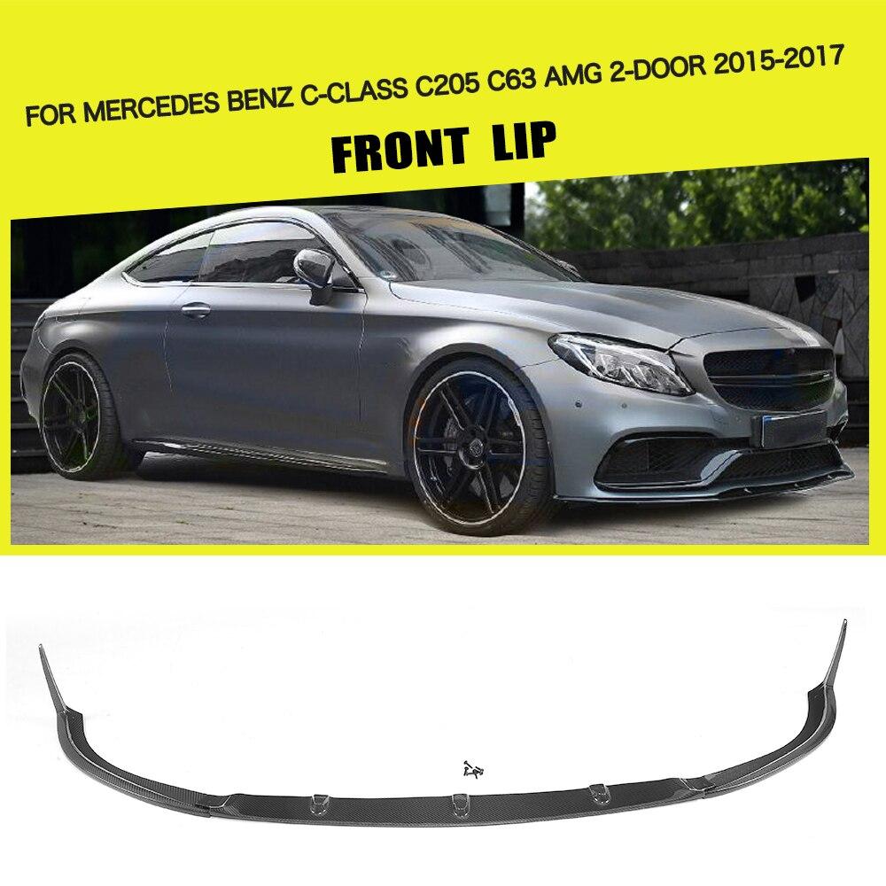 Carbon fiber Car Front Lip Spoiler Bumper Protector for Mercedes-Benz C Class C205 C63 AMG Coupe 2 Door 2015-2017