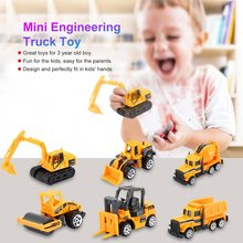 6pcs Mini Alloy bulldozer excavator Forklift Engineering Car Model Tractor Toy Dump Truck Classic Toy Vehicles For kids Gift 6pcs set mini alloy diecast construction vehicles model excavator bulldozer tractor dump roller engineering car kids classic toy