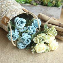 1 Bouquet Artificial Flowers Home Decoration Mini Rose For Wedding Bride Silk DIY Small Blossom