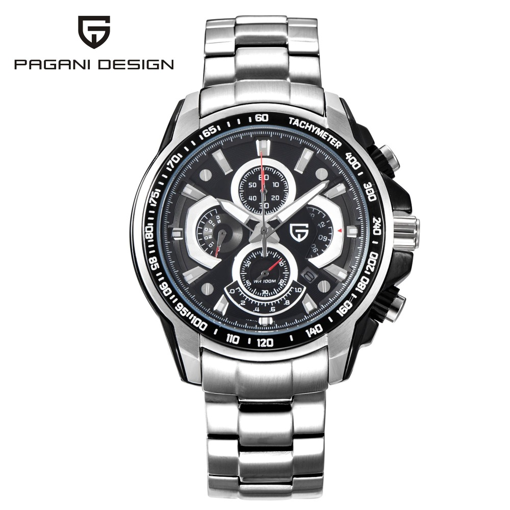 PAGANI DESIGN Silver Stainless Steel Men Watches Fashion Quartz Auto Date Chronograph Stop Watch Business Wristwatches CX-0005