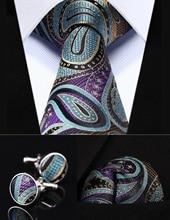 "TZP05M8 Blau Lila Paisley 3,4 ""Silk Männer Krawatte Taschentuch Manschettenknöpfe Set"