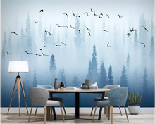 Beibehang Custom 3D Photo Wallpaper Creative Abstract Nordic pine forest bird blue modern  TV background wall 3d
