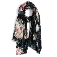 Free Shipping Chinese Wind In Spring and Autumn Winter Wool Shawl Scarf Mother Female Flowers In Long Black Ethnic Elderly