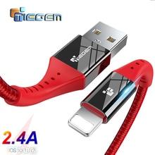 USB кабель TIEGEM для iPhone 5, 5S, 7, 8 X xs max, USB кабель для передачи данных для iPhone 11 PRO, MAX, кабель для быстрой зарядки, зарядное устройство для телефона, 1 м, 2 м, 3 м