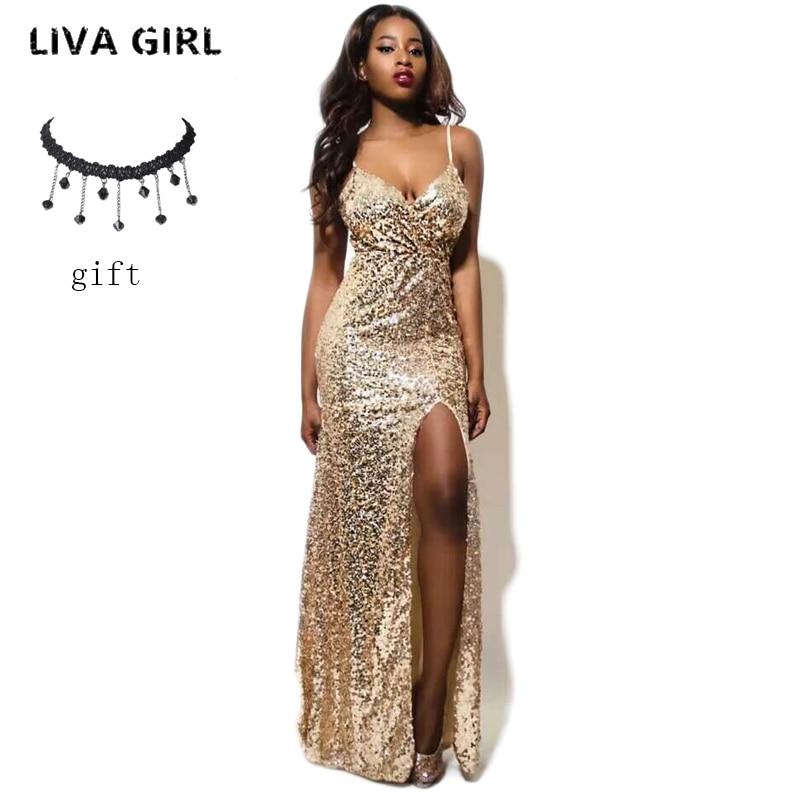 Evening Party Club Elegant Dress 2017 Women Dress Vestidos De Festa Womens Sexy Dresses Gold Sequined Long Evening Maxi Dress