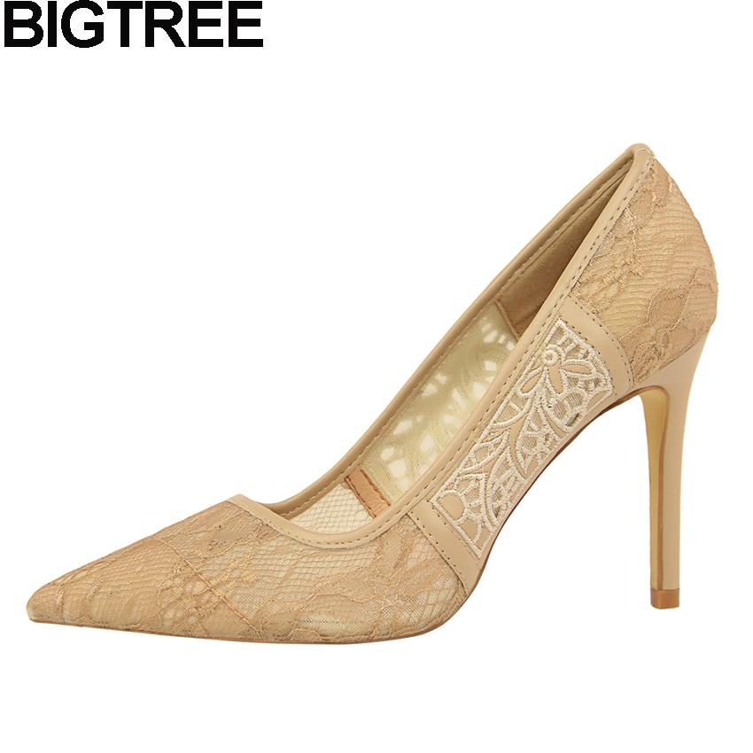 BIGTREE Summer Women Shoes Cut Out Hollow Crochet Lace Pumps High Heels Shallow Stilettos Wedding Dress Party Shoes Clubwear