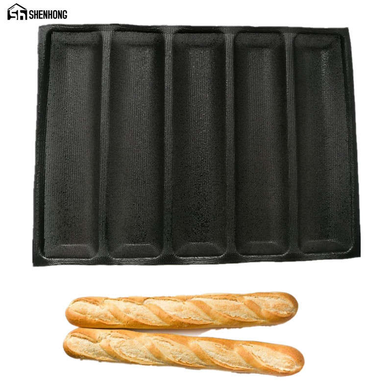 SHENHONG Non-Stick Baguette Wave French Bread Bakeware Perforated Baking Pan Mat for 12-Inch Sub Rolls Silicone Baking Liners