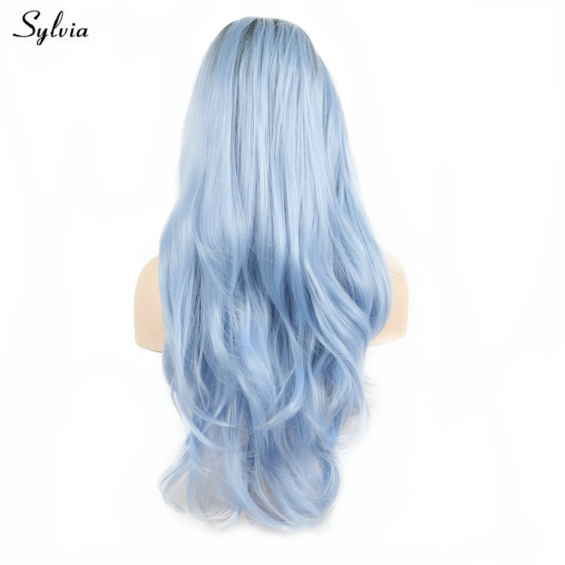 Sylvia Natural Hairline Blue Wig Ombre Dark Roots Two Tone Women Cosplay Synthetic Lace Front Wigs For Party Body Wave Long Hair