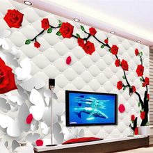 beibehang The red rose 3d wallpaper soft