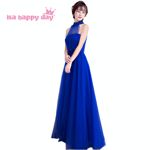 red full length dress ladies sexy party long women special occasion halter neck evening dresses royal blue ball gown 2019 H3918