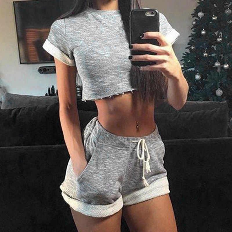 Conjunto de 2 piezas moda mujer Sexy Tops + Pantalones cortos traje transpirable exponer ombligo cordón señoras chica ropa Casual