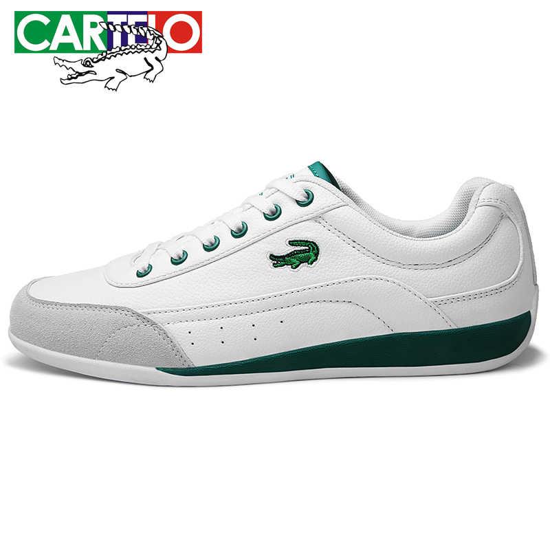 CARTELO Nieuwe mannen Casual Schoenen Ademend Wearable Schoenen Comfortabele Witte Ronde Hoofd Riem Platte Snekaers