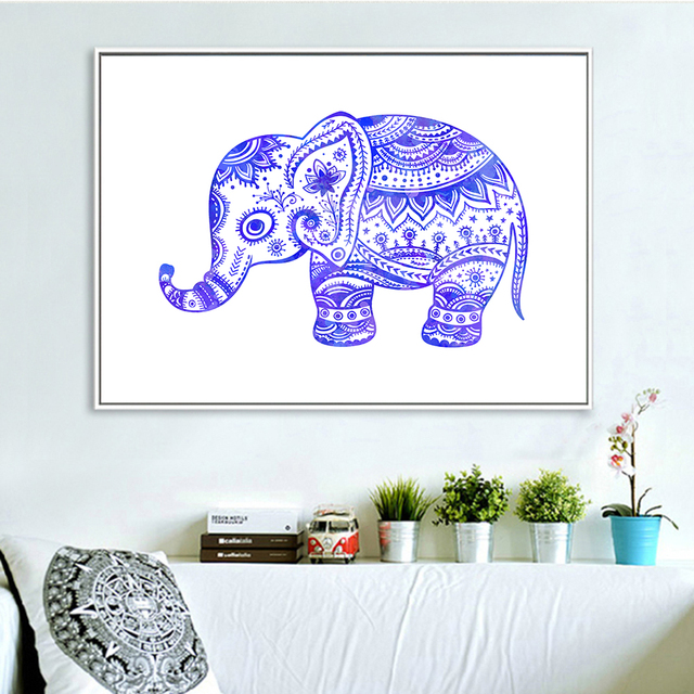 Elephant Art Print Watercolor Painting Nursery Blue Baby Wall Pictures Animal Poster