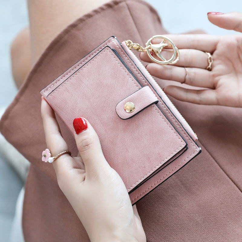 Leather Women Wallets Small Wallet PU Matte Purse Short Female Zipper Clutch Coin Credit Card Holder