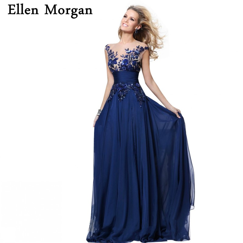 Royal Blue Corset Chiffon   Evening     Dresses   2019 Elegant Party Sheer Neck Long Sexy Red Carpet Formal Prom Gowns For Women Wear