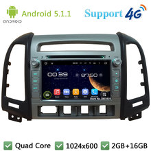 Quad Core 7″ 1024*600 Android 5.1.1 Car Multimedia DVD Player Radio DAB 3G/4G WIFI GPS Map For Hyundai SANTA FE 4 Hole 2006-2011