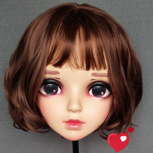Boys Costume Accessories female Sweet Girl Resin Half Head Kigurumi Bjd Mask Cosplay Japanese Anime Role Lolita Mask Crossdress Doll Mask Costumes & Accessories mian-03