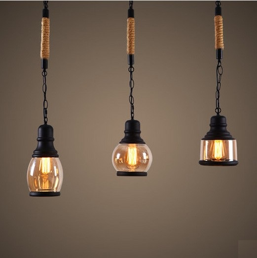 Loft Style Rope Glass Droplight Edison Vintage Pendant Light Fixtures For Dining Room Hanging Lamp Indoor Lighting Lamparas loft style iron droplight edison vintage pendant light fixtures for dining room hanging lamp indoor lighting lamparas colgantes