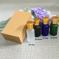 4pcs 10ml High Grade Frosted Essential Oil Bottle With Wooden Box Packing Gold Cap Glass Bottle