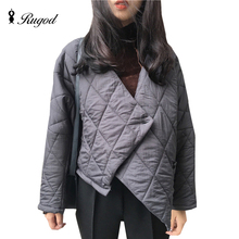 Asymmetry Winter Coat Women Cotton Padded Warm Coats and Jackets Solid Long Sleeve Single Button Design Outwear Chaquetas Mujer