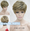 Natural Hair Wigs With Bang Synthetic Wigs Ombre Pixie Cut Hairstyle Wig For Women Peruca free shipping