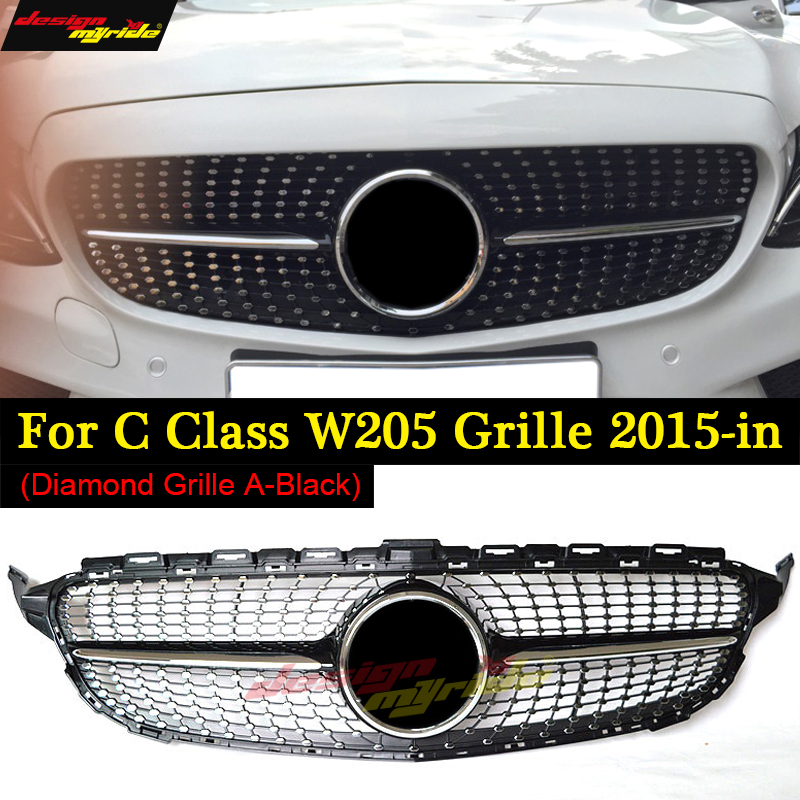 W205 Diamond grille ABS black without camera C63 look C Class C180 C200 C250 C300 350