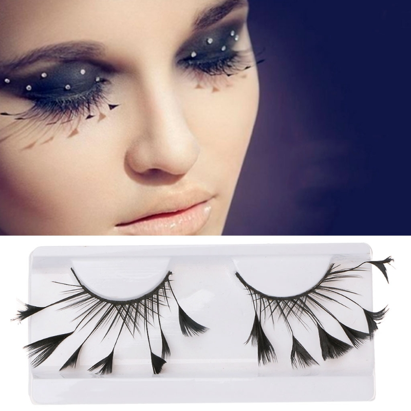 4a8af2001cc HUAMIANLI Fashion Women New Feather False Eyelashes Makeup Eye Tail Extended  Drama Stage Art Form Party