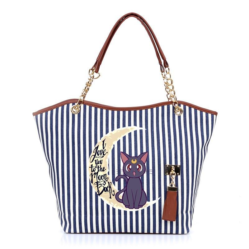 Girl Handbag Tote-Bag Chain Canvas-Bags Tassels Shopping-Shoulder Sailor Moon Stripe