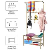 Multi purpose 2 in 1 Clothes Coat Stand and Shoe Rack for Coat Umbrella Hat Bags (Golden)