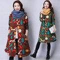 Casaco de inverno das Mulheres da Longo-luva de Algodão Para Baixo Parkas Moda Inverno Mulheres Jaqueta de Algodão Fino Estilo Chinês Impressão Feminino casaco Parka