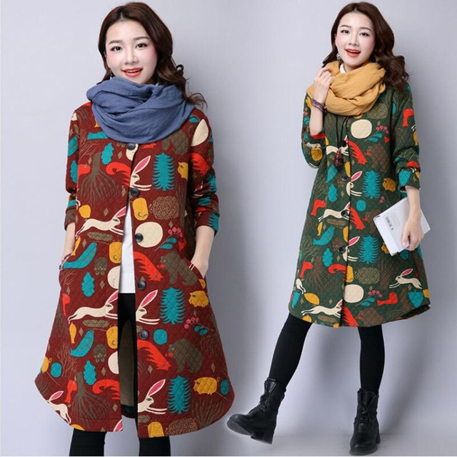 Winter Women's Coat Long-sleeve Cotton Down Parkas Fashion Winter Cotton Jacket Women Slim Chinese Style Print Female Coat Parka