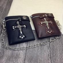Men Vintage Short Purse Boys Goth Skull Head Cross Black PU Leather Biker Punk Snap Zipper Wallet with Long Key Chain