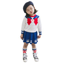 Winter Baby Girls Sailor Moon Cosplay Costume Cartoon Anime Girl Mercury Moon Mars Knit Dress For Halloween Performance 2-10T(China)