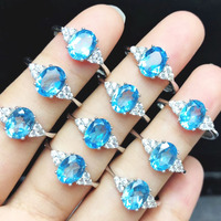 Blue topaz ring 6*8mm topaz solid 925 sterling silver rings for women valentine's day gift gemstone silver ring