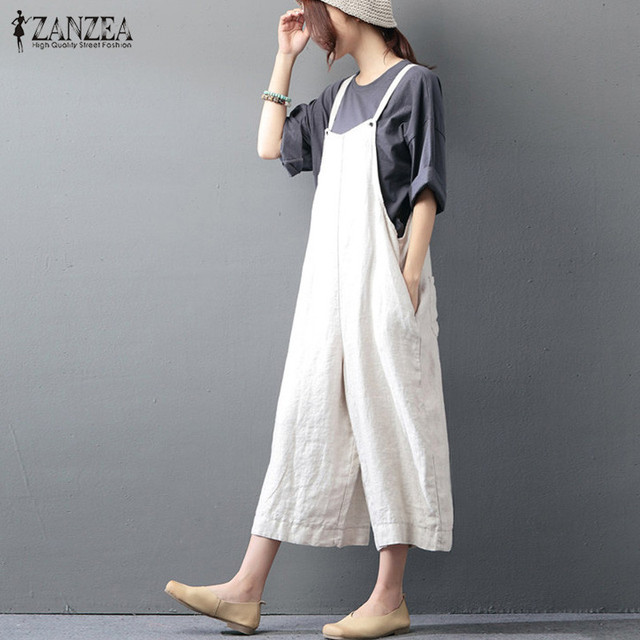 1c3ca9212b08 Overalls 2018 ZANZEA Rompers Women Jumpuits Casual Loose Sleeveless  Backless Solid Pants Retro Strapless Plus Size