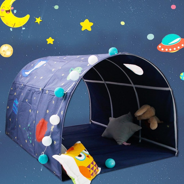 Tunnel Tent for Twin Beds Space Galaxy Childrenu0027s Bed Tent Tunnel Boys Game House Toys For Kids Children & Tunnel Tent for Twin Beds Space Galaxy Childrenu0027s Bed Tent Tunnel ...