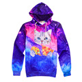 Explosion 3D Printed Funny Cat Pizza Galaxy Space Pattern Hoodies Casual Sweatshirts Long Sleeve Pullover Unisex Tracksuit Tops