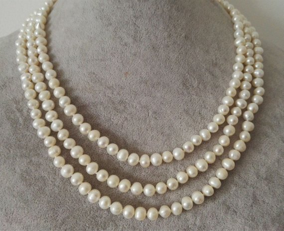 Exquisite 2 Rows 6-7mm White Pearl Necklace