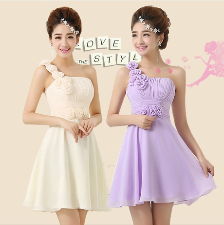 Vestido lila luz púrpura un hombro dama de honor vestidos para ...