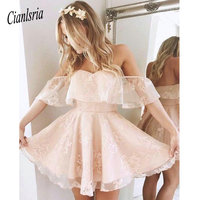 Lovely Off Shoulder Lace Pink Homecoming Dresses Little Short A Line Pleats Mini Cocktail Gowns Backless