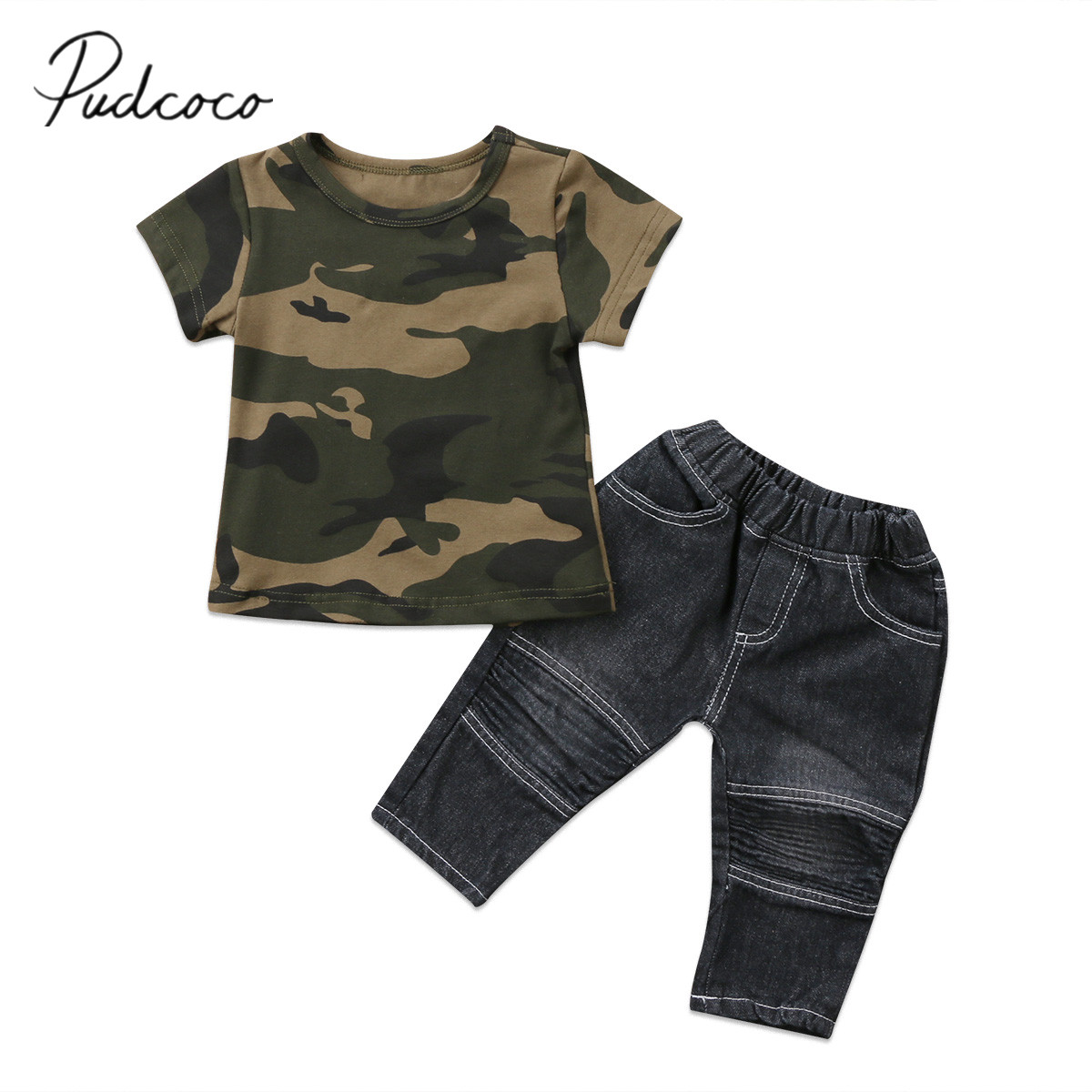2017 Brand New Lovely Toddler Infant Child Kids Baby Boys Camo T-Shirt Tops Denim Pants Cotton 2Pcs Outfits Clothes Set 6M-5T 2017 new fashion brand boys t shirt kids tops designer toddler baby boys t shirts cotton short sleeve tee shirt kids t shirt
