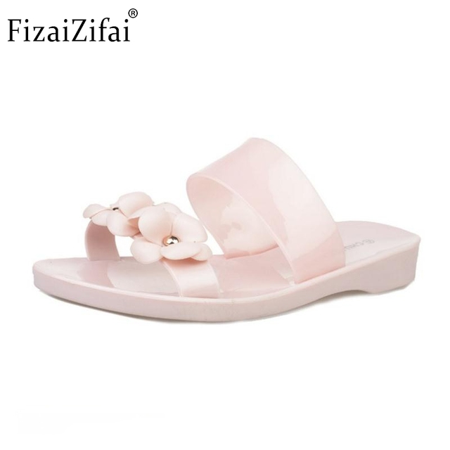 2b54e66eb Summer Women Beach Shoes Rubber Slippers Open Toe Flats Clear Transparent  Sweet Flower For Woman Slip On Sandalias Size 36-40