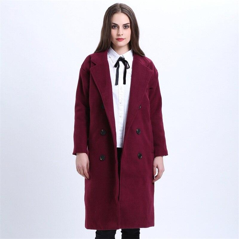H SA Winter Coat Women Elegant Long Overcoat Woolen Jacket Purple Red Wool Trench Coats Loose