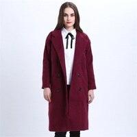 Winter Coat Women Elegant Long Overcoat Woolen Jacket Purple Red Wool Trench Coats Plus Size Oversized