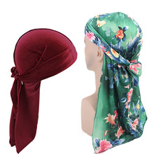 Plain and Print Velvet Durag 2pcs set Unisex Men Women Breathable Bandana