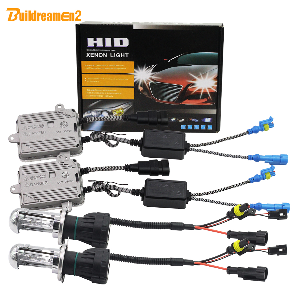 Buildreamen2 55W Bi Xenon H4 Hi/Lo AC HID Xenon Kit Ballast Bulb Harness Wire 3000K-12000K 12V Replacement Car Headlight Light 2pcs 9007 4 12v 55w hid bi xenon bulbs light replacement auto headlight lamps