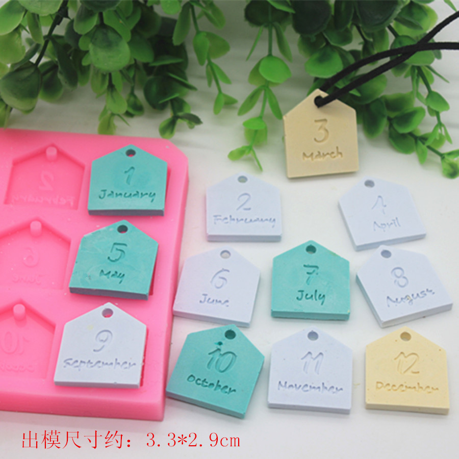 twelve month paraffin wax tablet mold DIY fragrance plaster pendant chocolate silicone molds