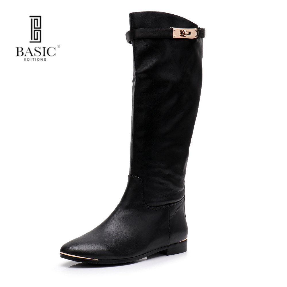 Basic Edition Women Spring Autumn Genuine Leather Mid Calf Round Toe Low Heel Zip Up Fastened Casual Boots - A2291-1522 trendy low heel and double buckle design women s mid calf boots