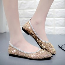 2019 Women Flat Shoes Woman Mesh Hollow Out Beach Pointed Toe Flats Summer Lady  Loafers Damen Schuhe